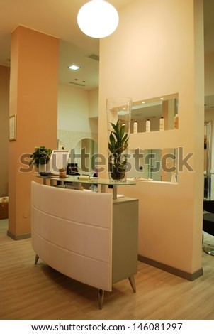 Interior of a empty modern fashionable beauty salon