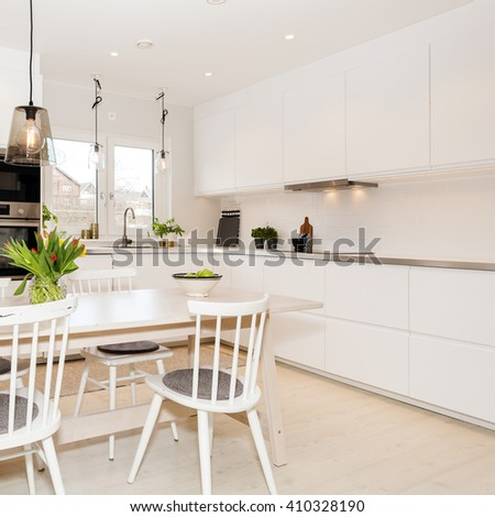 interior of a fancy kitchen - stock photo