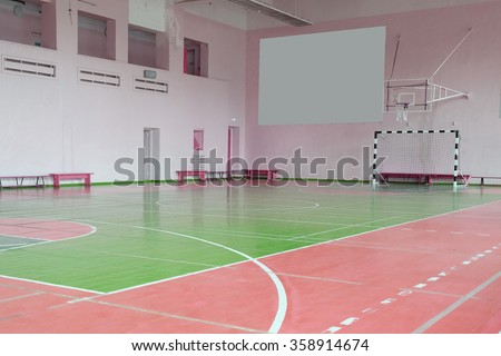 Interior of a hall for sport games - stock photo
