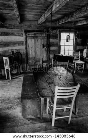 Interior of a historic cabin in Sky Meadows State Park, Virginia. - stock photo
