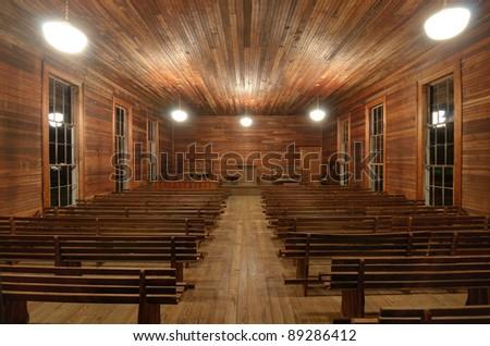 Interior of a historic 19th Century Presbyterian Chapel. - stock photo