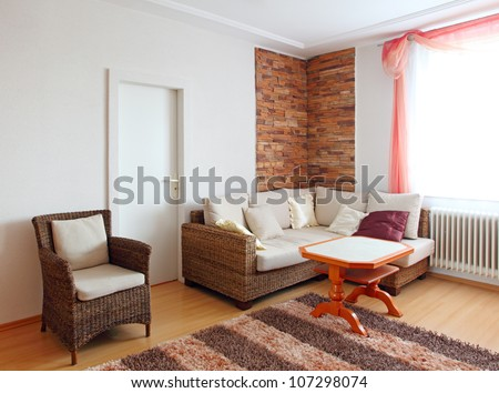 Interior of a home den - living room - stock photo