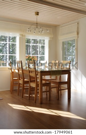 Interior of a home, dining room in sunlight