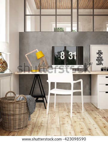 Interior of a home office - 3 D render - stock photo