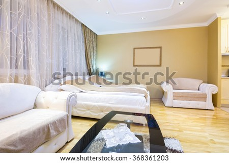 Interior of a hotel apartment bedroom