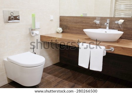 Interior of a hotel bathroom - stock photo