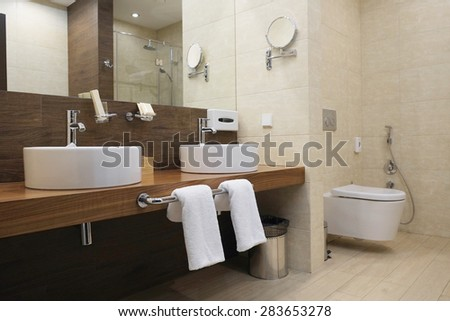 Interior of a hotel bathroom - stock photo