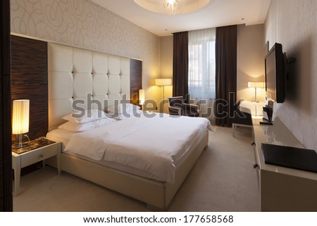Interior of a hotel bedroom in the morning
