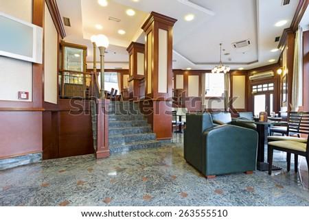 Interior of a hotel lobby - stock photo