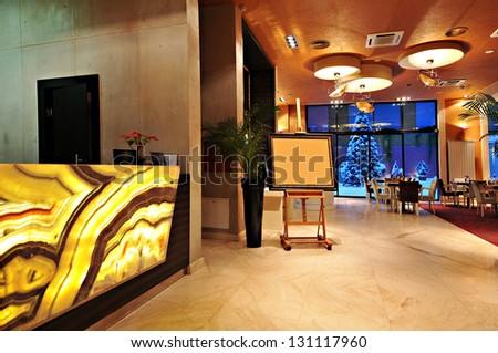 Interior of a hotel reception - stock photo