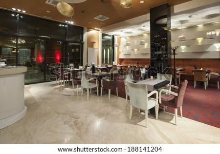 Interior of a hotel restaurant  - stock photo