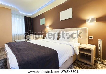 Interior of a hotel room for two persons. Modern luxury design.  - stock photo