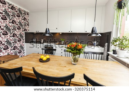 interior of a kitchen dinner-table  - stock photo