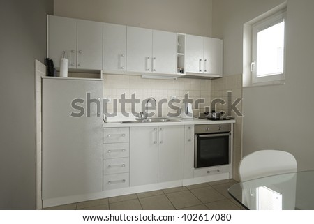 interior of a kitchen in a guest house or an apartment in Herceg-Novi, Montenegro - stock photo