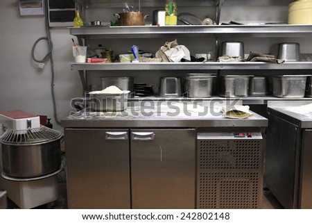 Interior of a kitchen in the bakery - stock photo