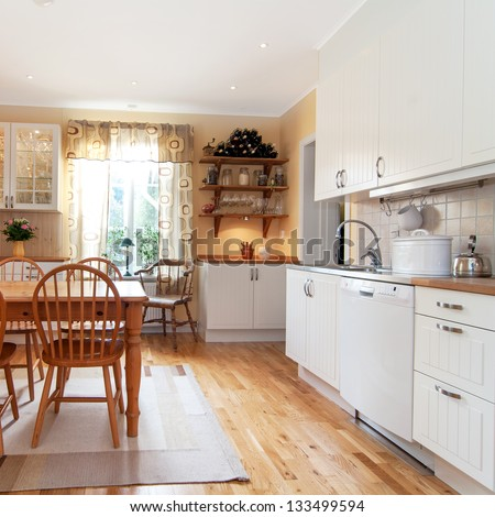 interior of a kitchen, vintage design - stock photo