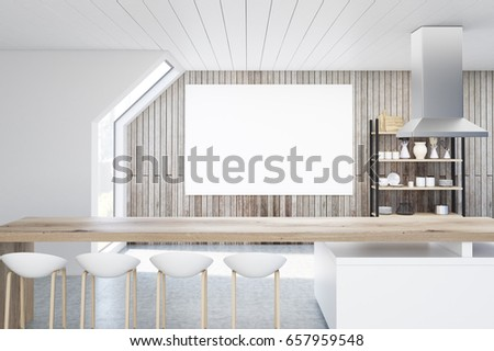 Interior Of A Kitchen With Wooden Walls In An Attic There Is A Long Bar