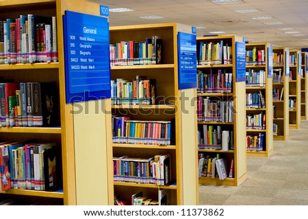 Interior of a library showing rows of books