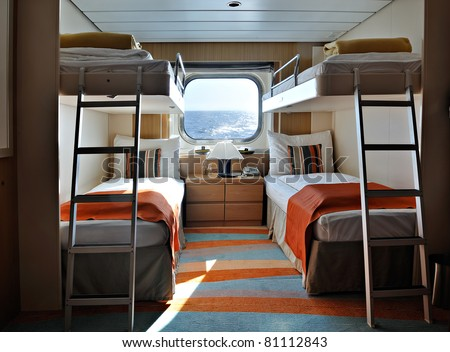 Interior Living Cabin On Cruise Ship Stock Photo 81112843