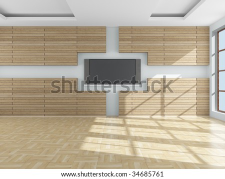 Interior of a living room. 3D image. - stock photo