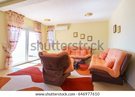 Interior of a living room in a guest house