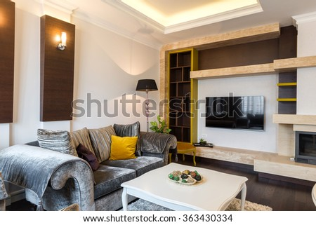Interior of a living room in luxury apartment - stock photo