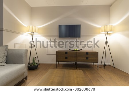 Interior of a living room in the evening - stock photo