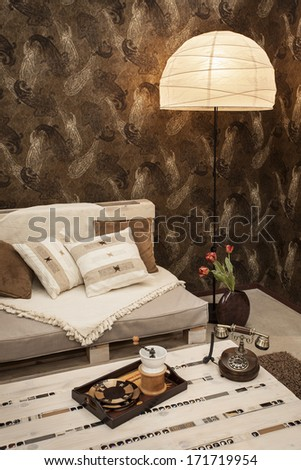 Interior of a living room sofa and table - stock photo
