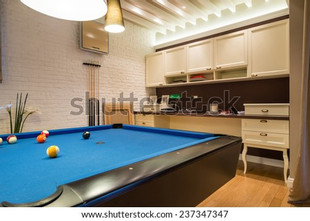 Interior Of A Living Room With Pool Table Part 81
