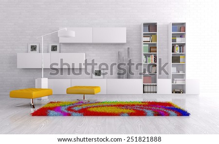 Interior of a living room with sideboard, bright carpet 3d render - stock photo