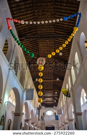 Interior of a local Chapel in Mexico. Traveling through Chiapas. - stock photo
