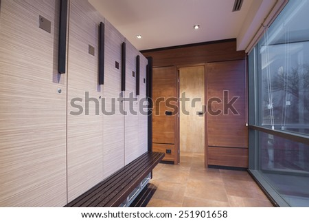 Interior of a locker, changing room  - stock photo
