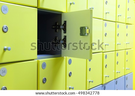 Interior of a locker room in fitness club