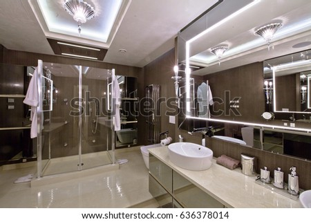 Interior of a luxurious bathroom in the apartment, hotel