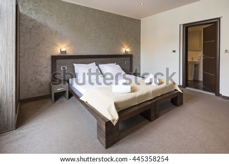 Interior of a luxury double bed hotel bedroom