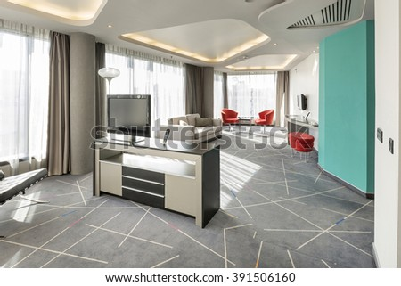 Interior of a luxury hotel apartment with sunlight - stock photo