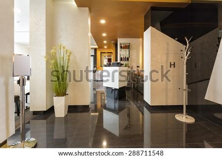 Interior of a luxury hotel lobby interior - stock photo