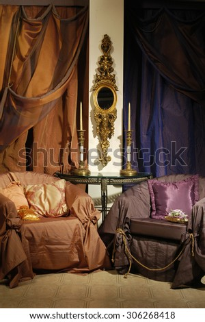 interior of a luxury room with chairs and curtains - stock photo