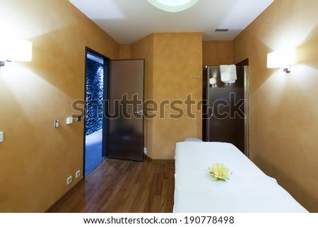 Interior of a massage room - stock photo