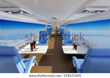 Interior of a modern aircraft. - stock photo