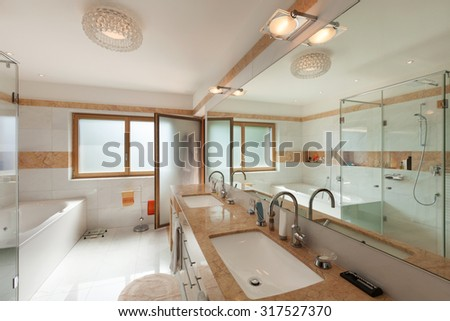 Interior of a modern apartment, domestic bathroom - stock photo