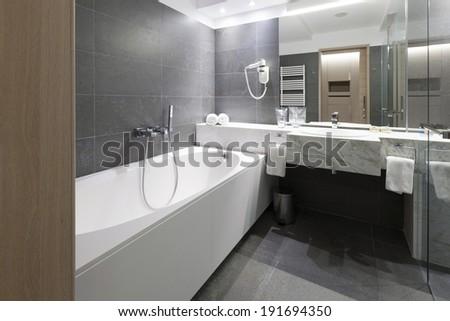 Interior of a modern bathroom - stock photo