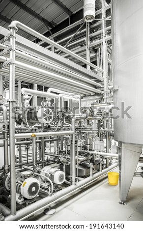 Interior of a modern brewery, equipments - stock photo