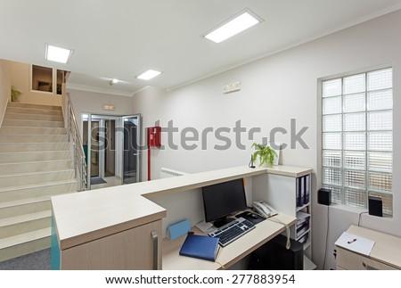 Interior of a modern corporate halls, simple minimalistic design.  - stock photo
