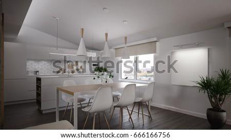 Dining Room Ds | Interior Modern Dining Room Kitchen 3 Stock Illustration 666166756