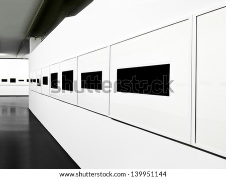 Interior of a modern exhibition hall. Exhibition. Panorama. - stock photo