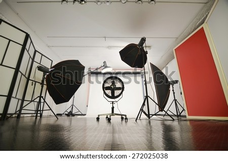 Interior of a modern homemade photo studio ready to use. - stock photo
