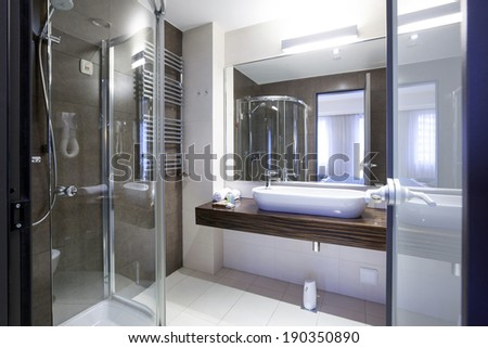 Interior of a modern hotel bathroom  - stock photo