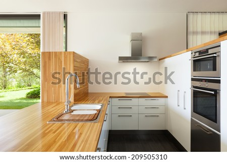interior of a modern house, domestic kitchen - stock photo