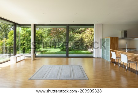 interior of a modern house, wide living room - stock photo